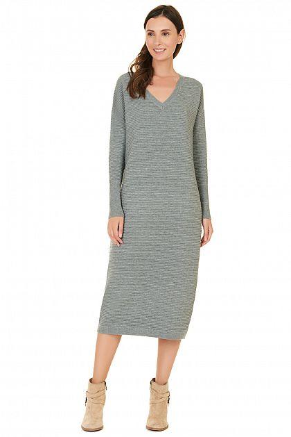 длинное вязаное платье купить за 1999 руб цвет Zirconmelange