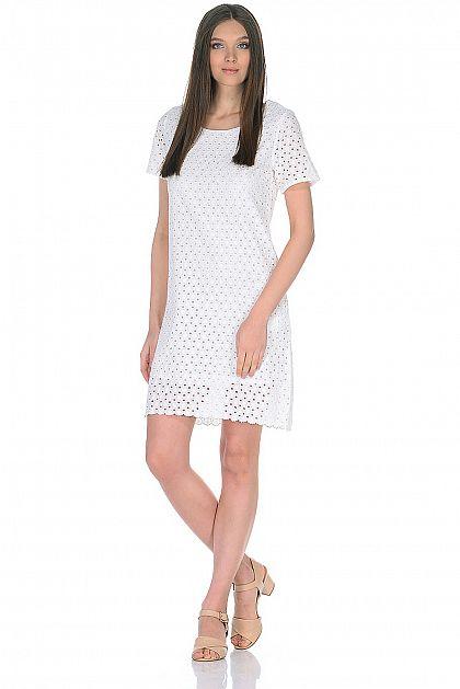 d127a2fab073e97 Платье из хлопкового шитья, купить за 2599 руб, цвет WHITE, артикул ...