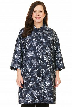 Baon, Плащ SIZE+ с сине-белым узором  B087124, DARKNAVYPRINTED