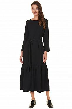 Baon, Платье-миди с оборкой B457501, BLACK